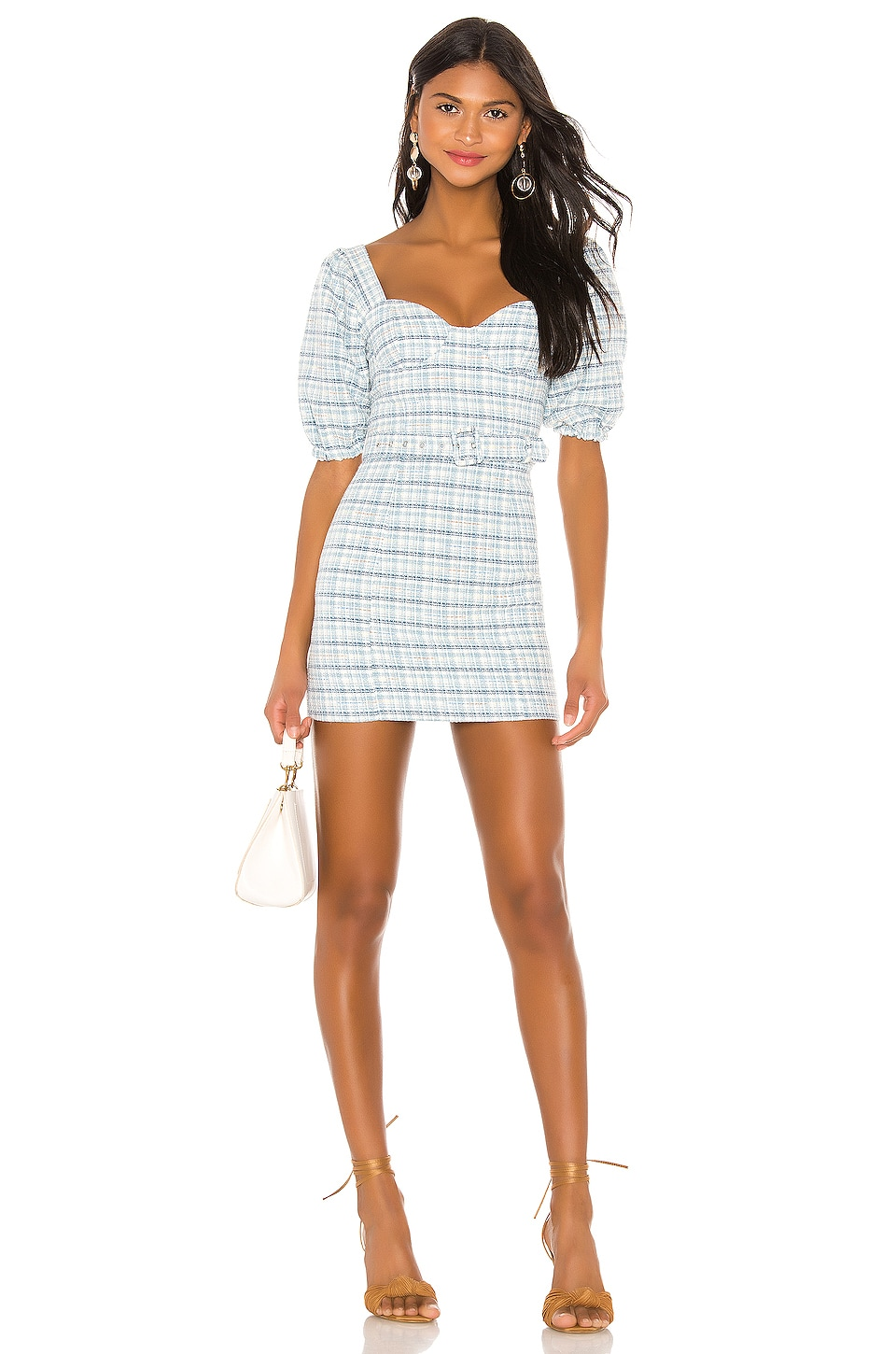 MAJORELLE Abigail Mini Dress in Blue Plaid