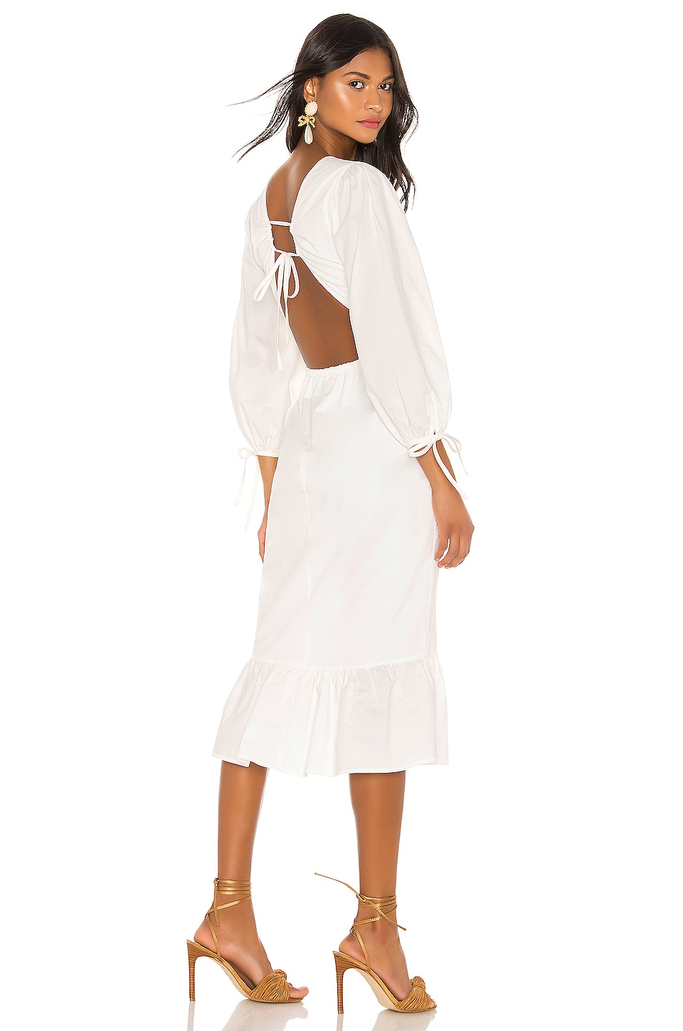 MAJORELLE Heidi Midi Dress in White