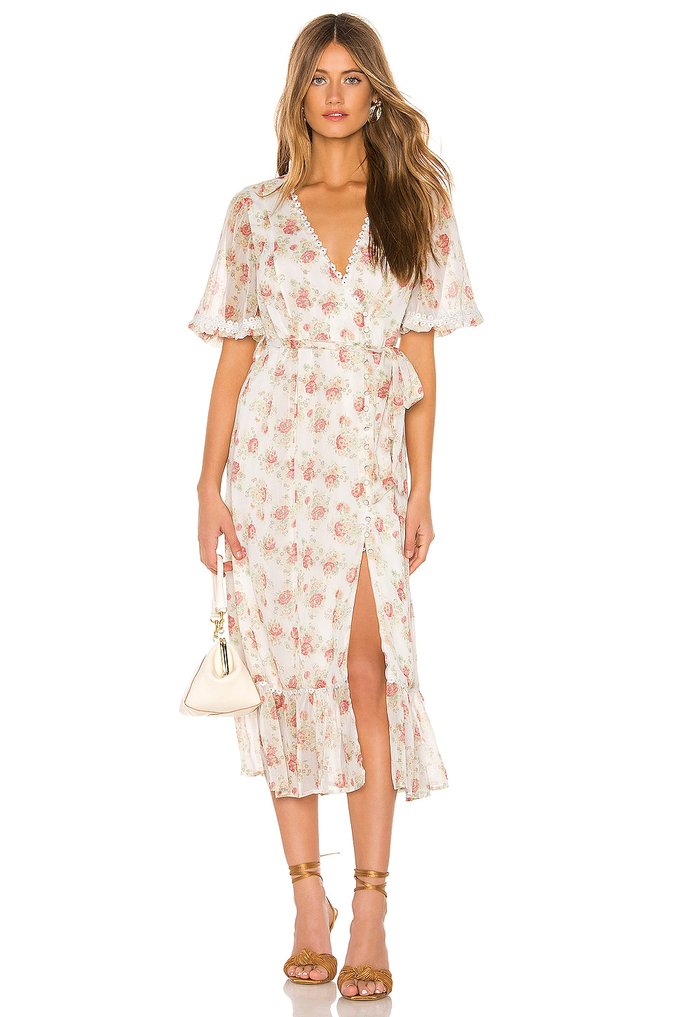 MAJORELLE Alejandra Midi Dress in White Prairie