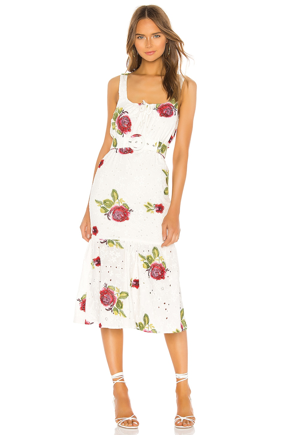 MAJORELLE Mariah Midi Dress in White & Pink