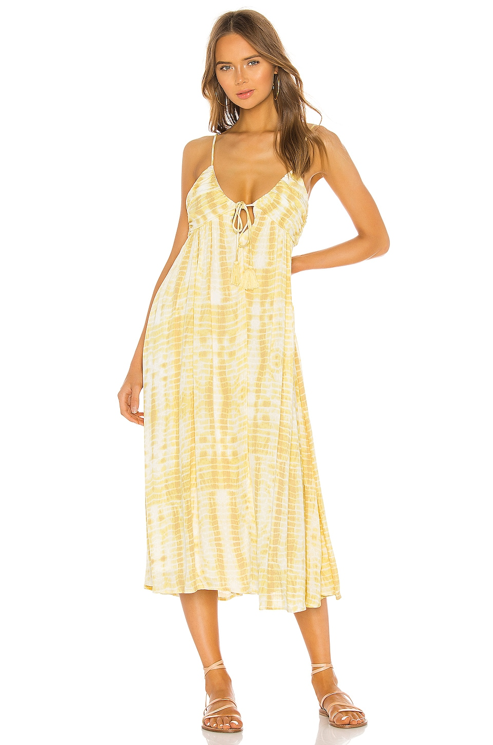 MAJORELLE Kiara Midi Dress in Yellow Tie Dye