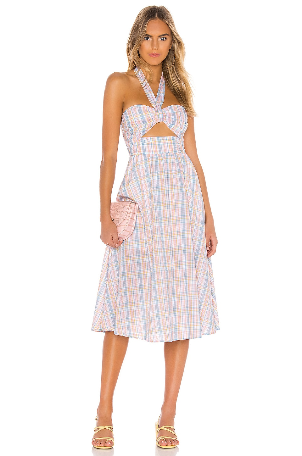 MAJORELLE Florian Midi Dress in Pastel Plaid