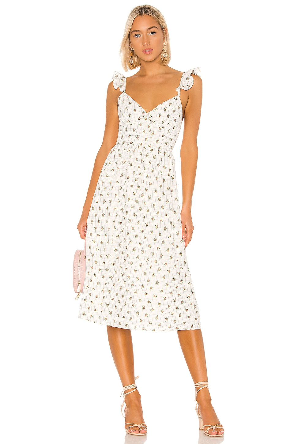MAJORELLE Maura Midi Dress in White Ditsy