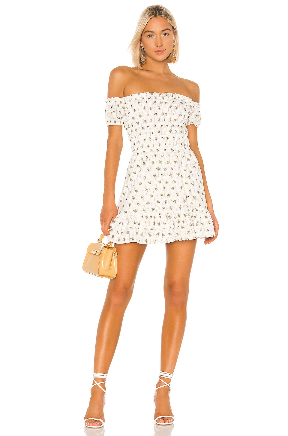 MAJORELLE Emory Mini Dress in White Ditsy