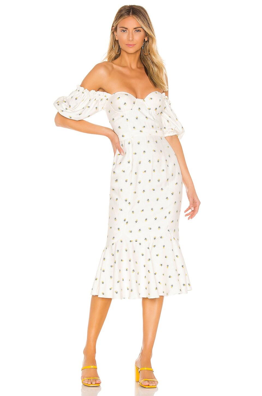 MAJORELLE Elise Midi Dress in White & Yellow