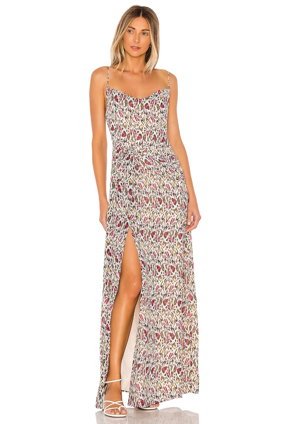 MAJORELLE Talia Maxi Dress in Leopard Multi
