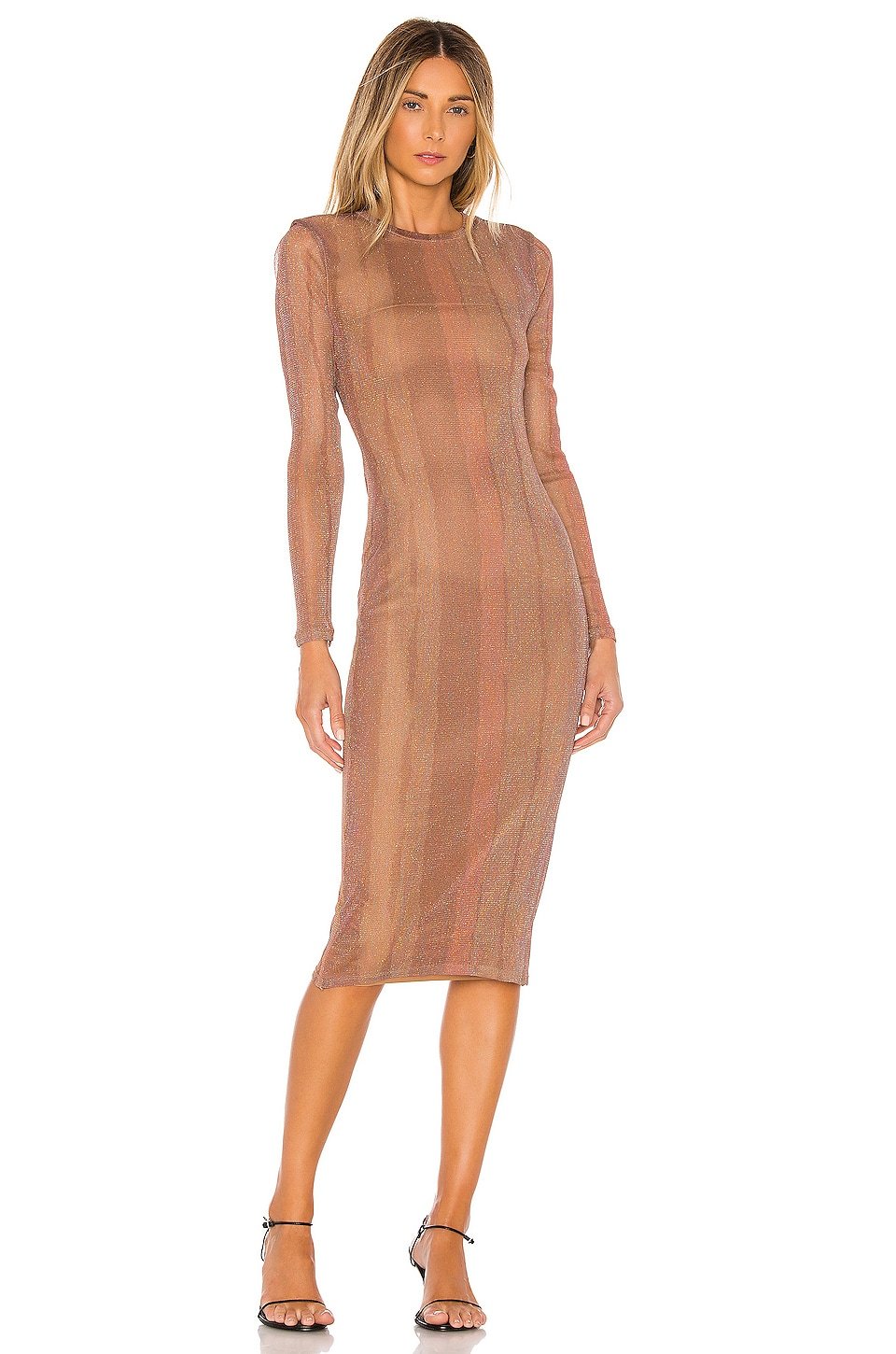 MAJORELLE Weston Midi Dress in Desert Brown