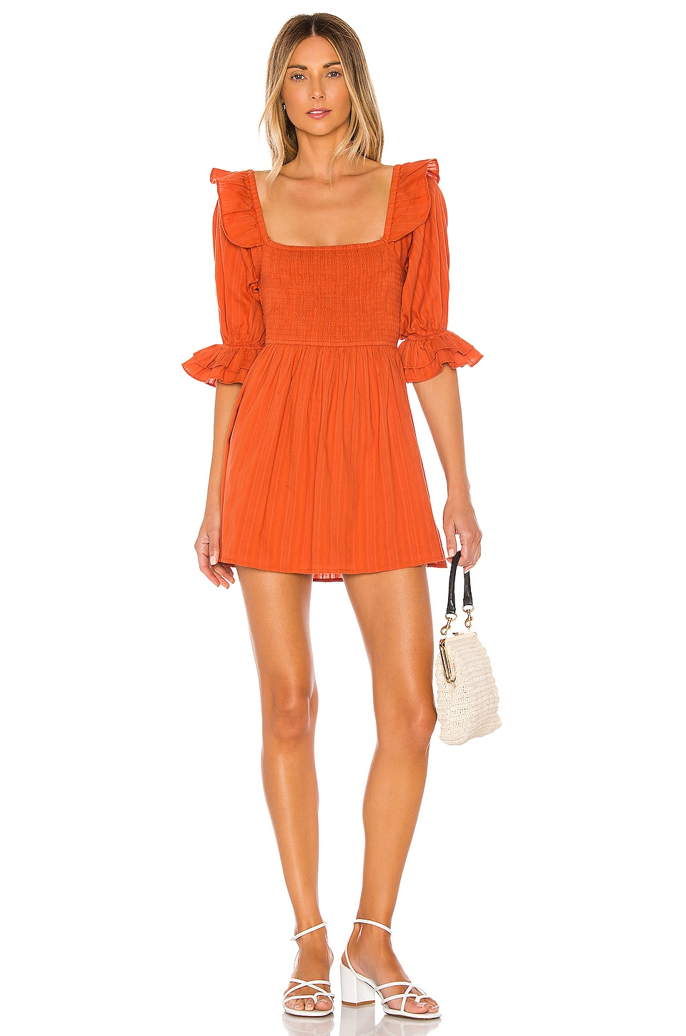 MAJORELLE Abrielle Mini Dress in Rust Orange