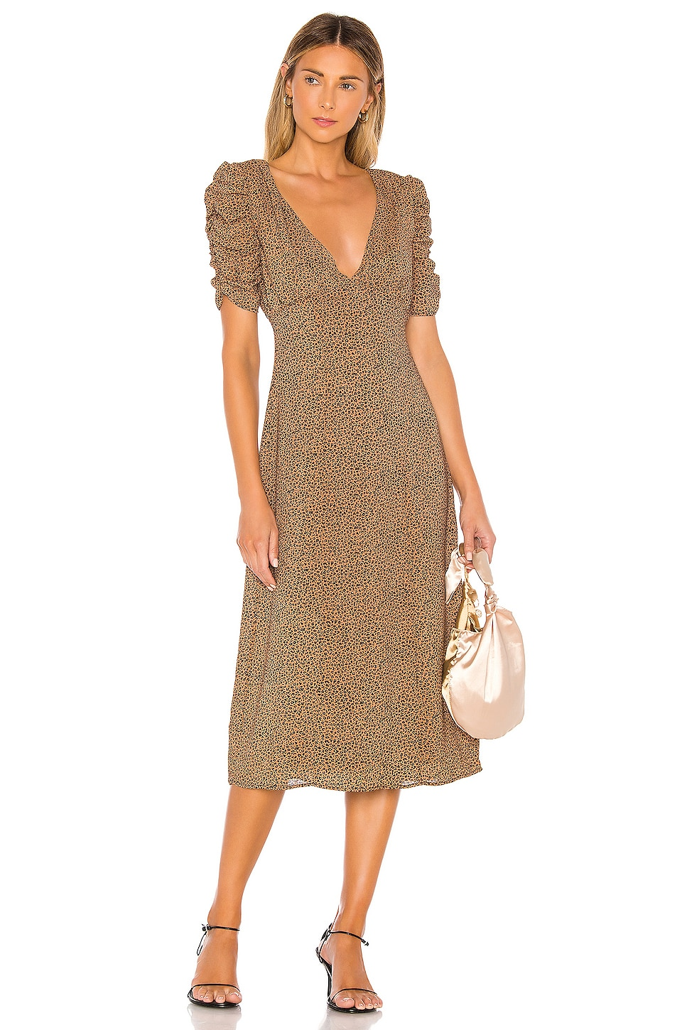MAJORELLE Tamra Midi Dress in Tan Leopard