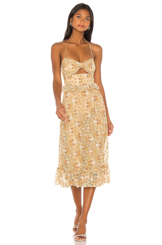 MAJORELLE Jessica Midi Dress in Tuscany Yellow