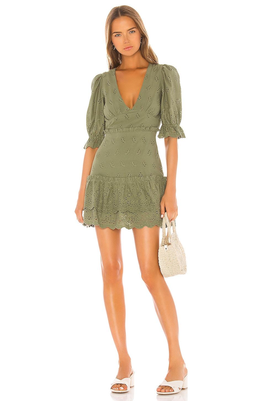 MAJORELLE Adam Mini Dress in Olive Green