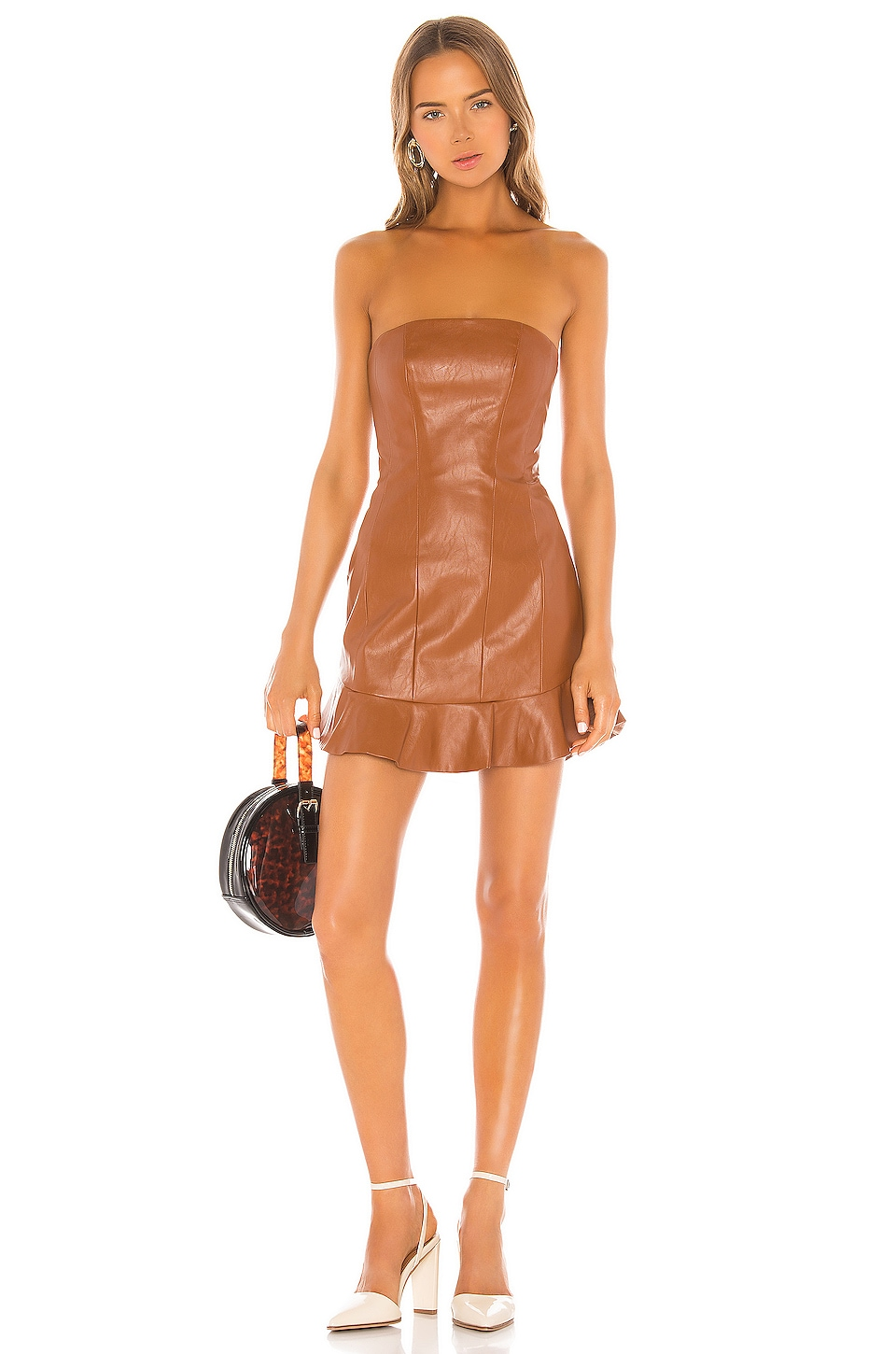 MAJORELLE Talan Mini Dress in Brown Spice