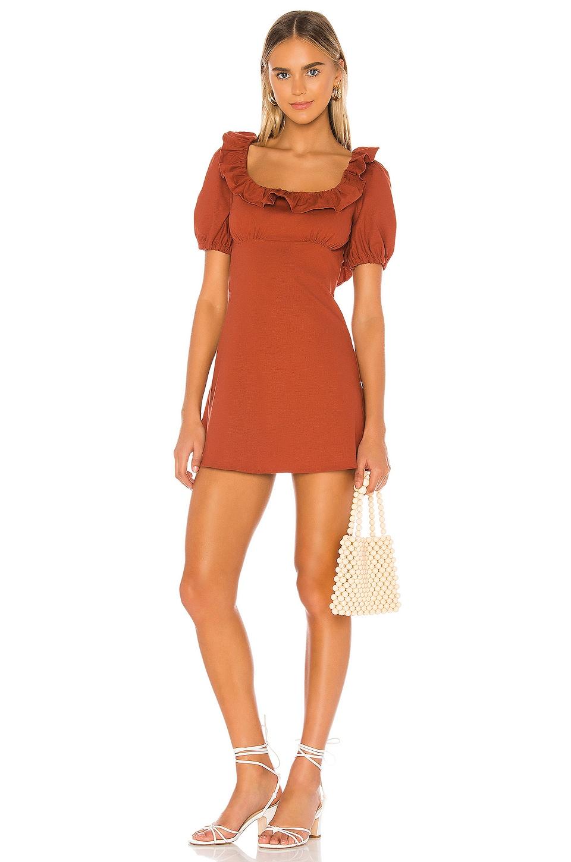 MAJORELLE Jeffrey Mini Dress in Terracotta Brown