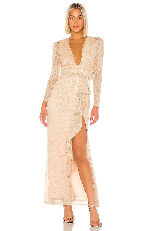 MAJORELLE Gladstone Maxi Dress in Gold
