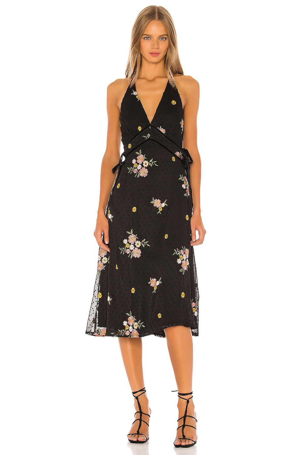 MAJORELLE Gabriella Midi Dress in Black Dot