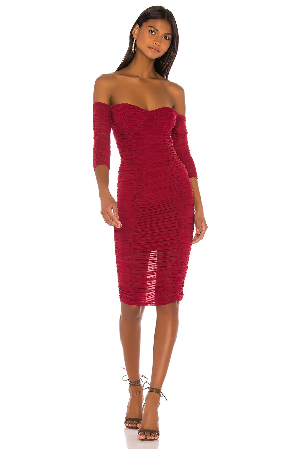 MAJORELLE Jared Midi Dress in Cranberry Red