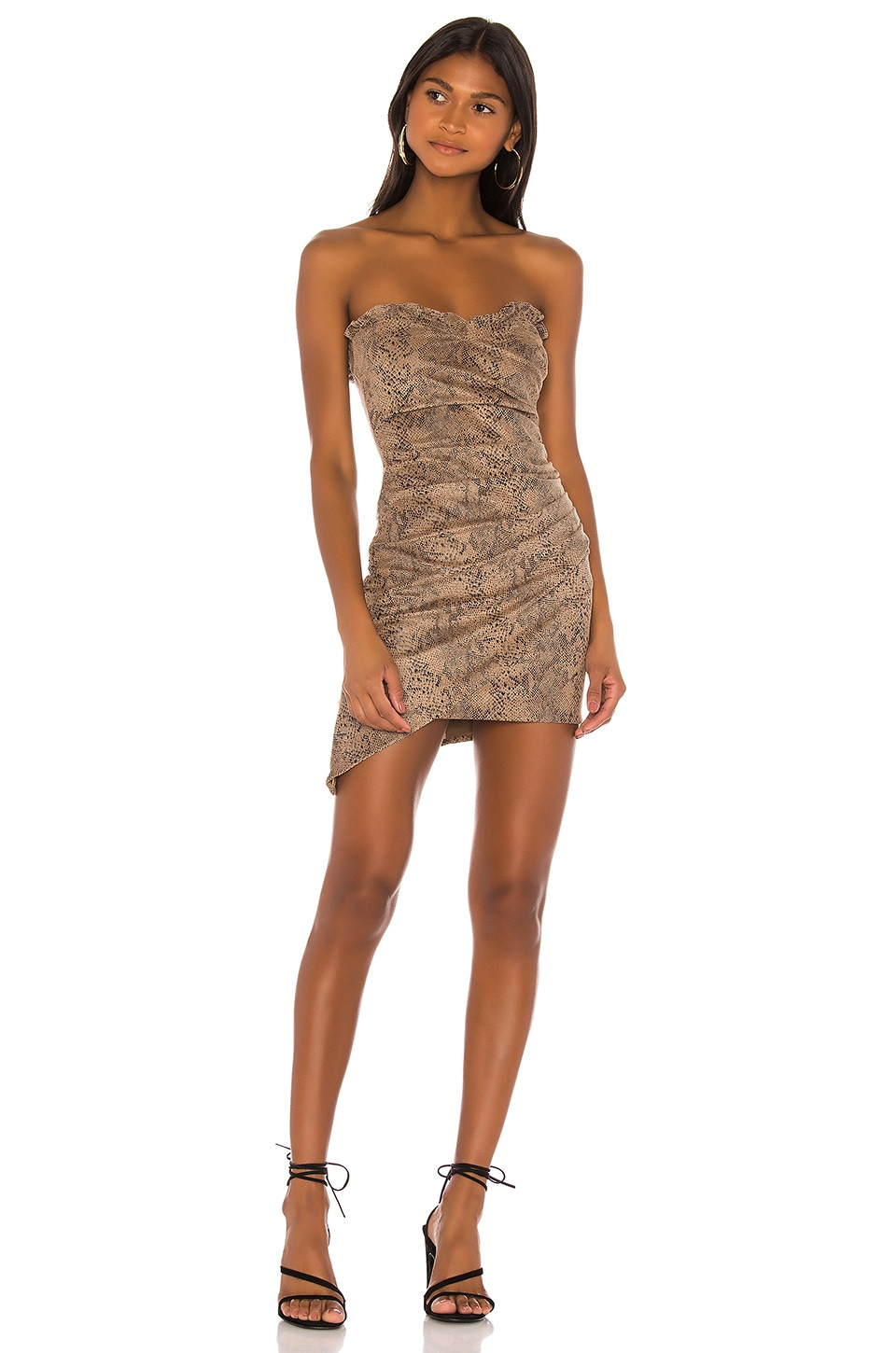 MAJORELLE Finch Mini Dress in Tan Snake