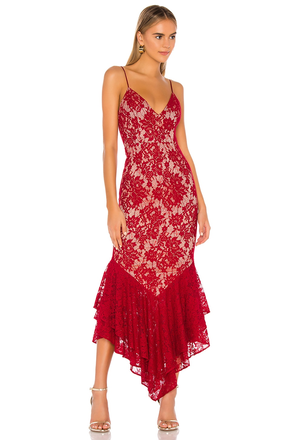MAJORELLE Duchess Gown in Rouge Red