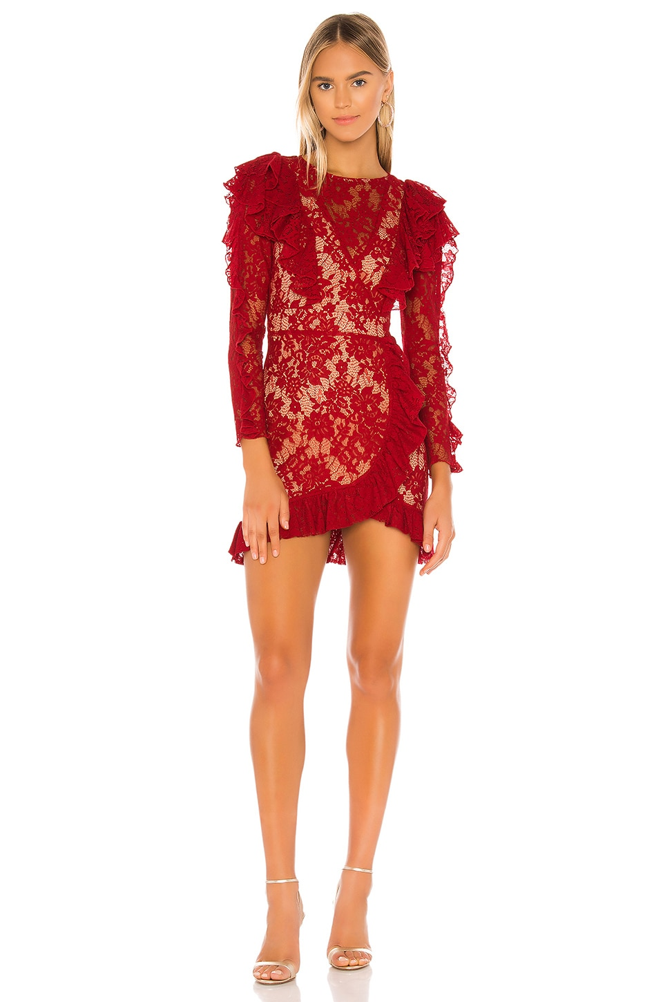 MAJORELLE Pamina Mini Dress in Rouge Red