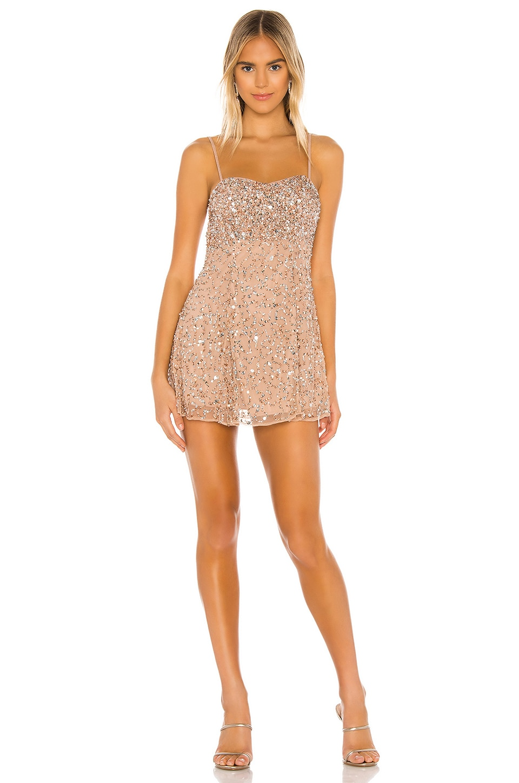 MAJORELLE Rhodes Mini Dress in Blush & Silver