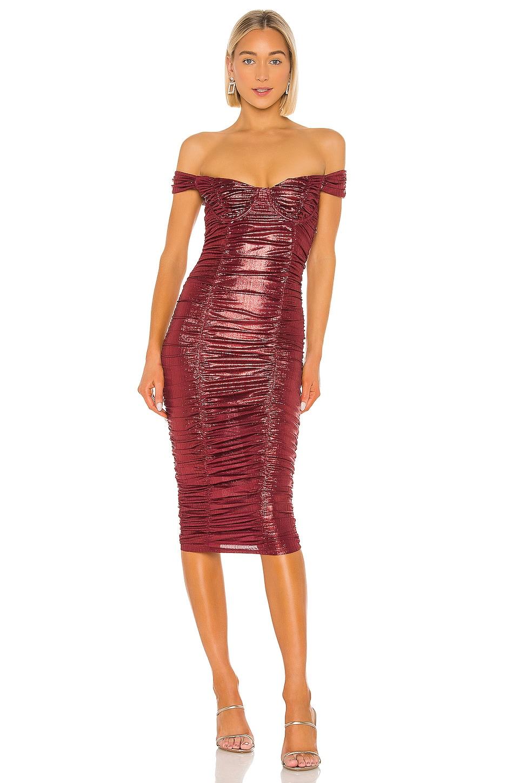 MAJORELLE Tabitha Midi Dress in Brick Red