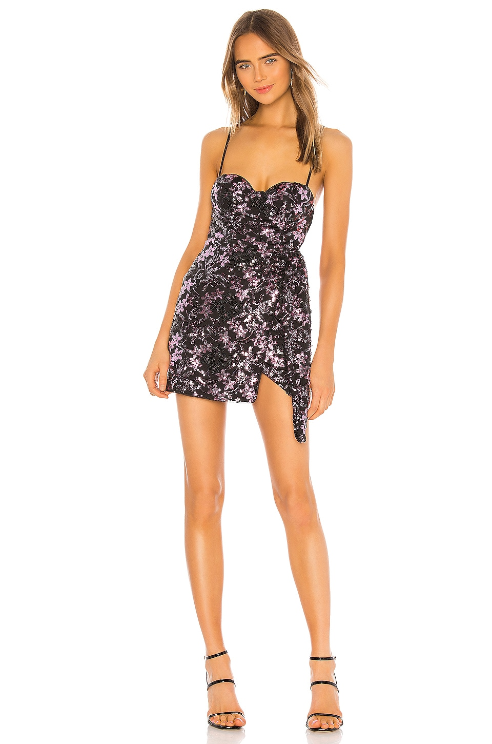 MAJORELLE Aida Mini Dress in Black Fucshia