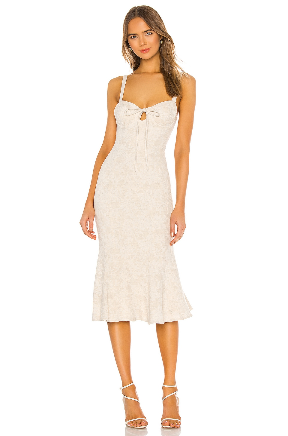 MAJORELLE Fabiana Midi Dress in Oatmilk