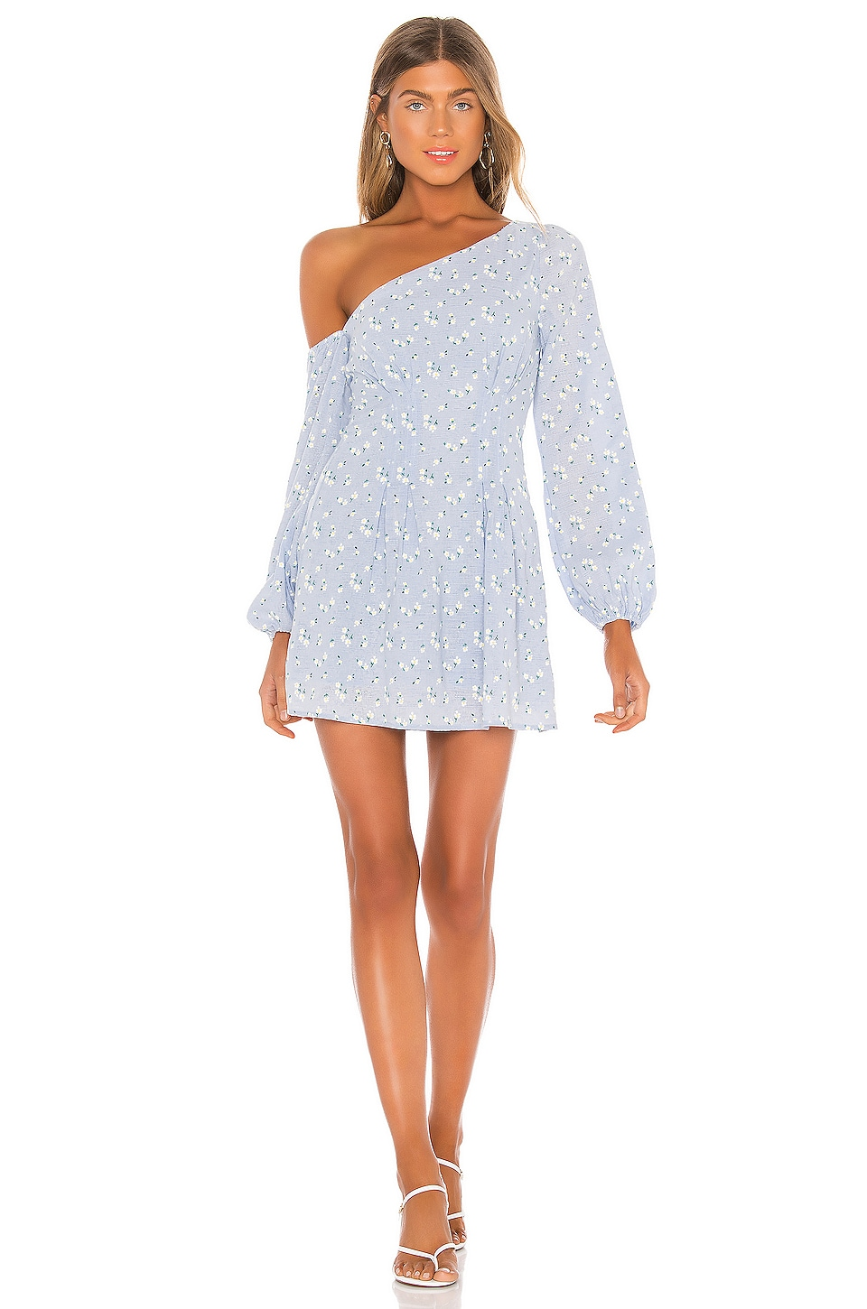 MAJORELLE Mandy Mini Dress in Baby Blue Ditsy