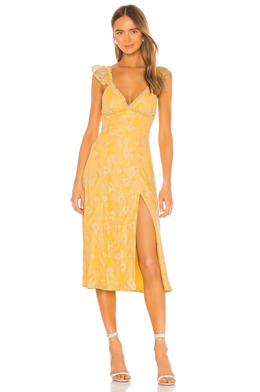 MAJORELLE Draven Midi Dress in Pale Yellow