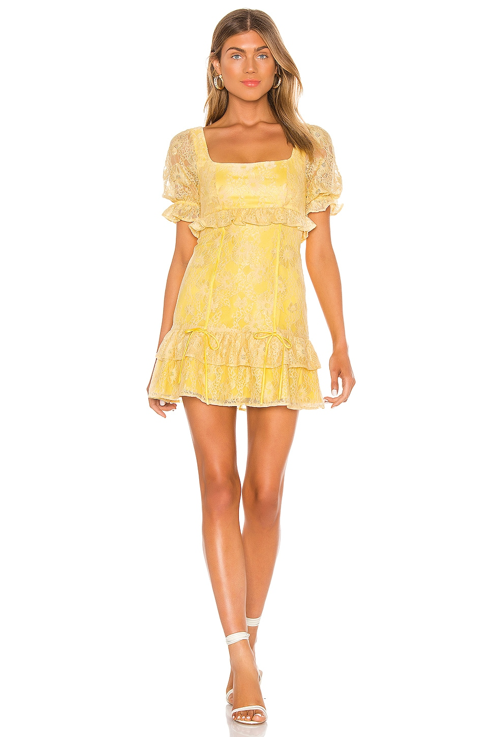 MAJORELLE Camille Mini Dress in Pale Yellow
