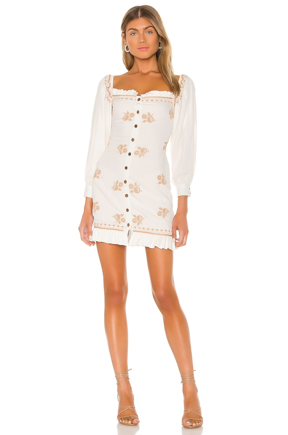 MAJORELLE Pomona Mini Dress in Vintage Ivory