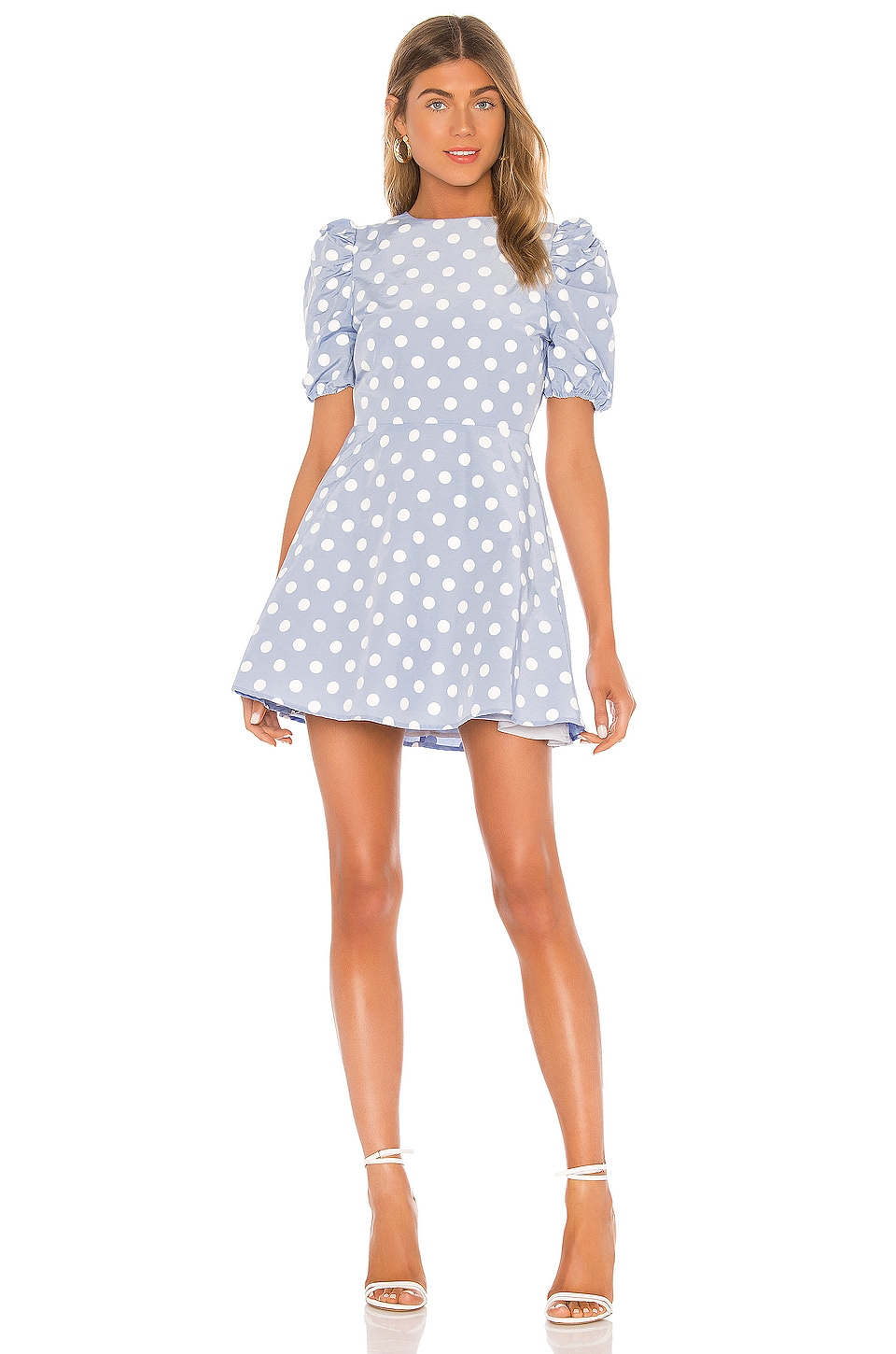 MAJORELLE Cordella Mini Dress in Baby Blue Dot