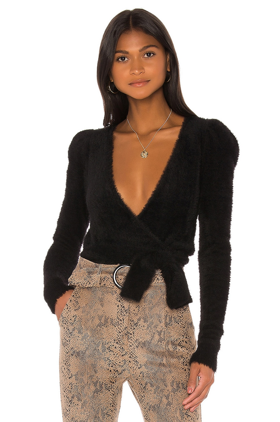 MAJORELLE Coco Wrap Sweater in Black