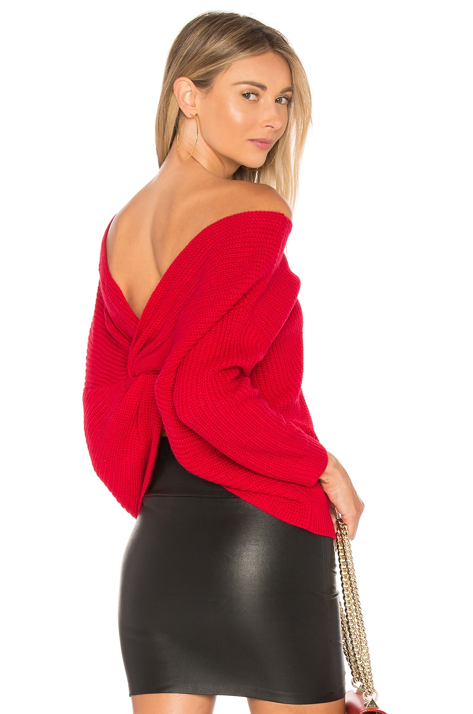 MAJORELLE Cross Back Sweater in Red