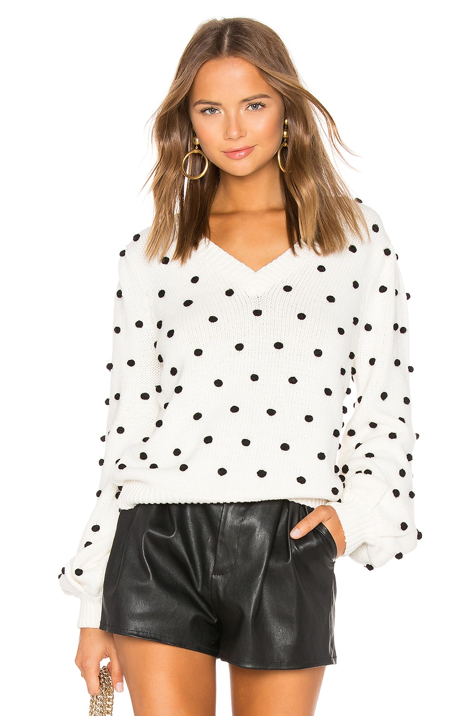 MAJORELLE Polka Dot Sweater in Ivory & Black