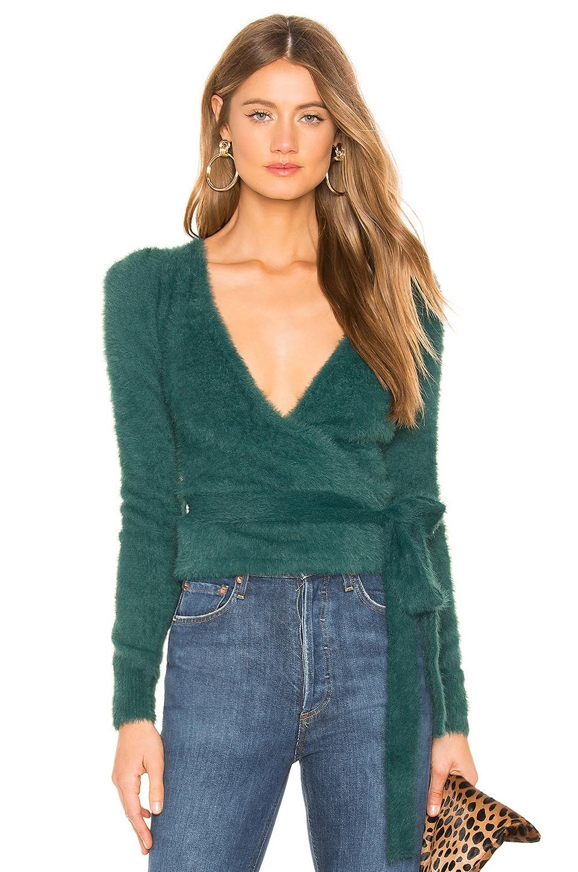 MAJORELLE Coco Wrap Sweater in Emerald