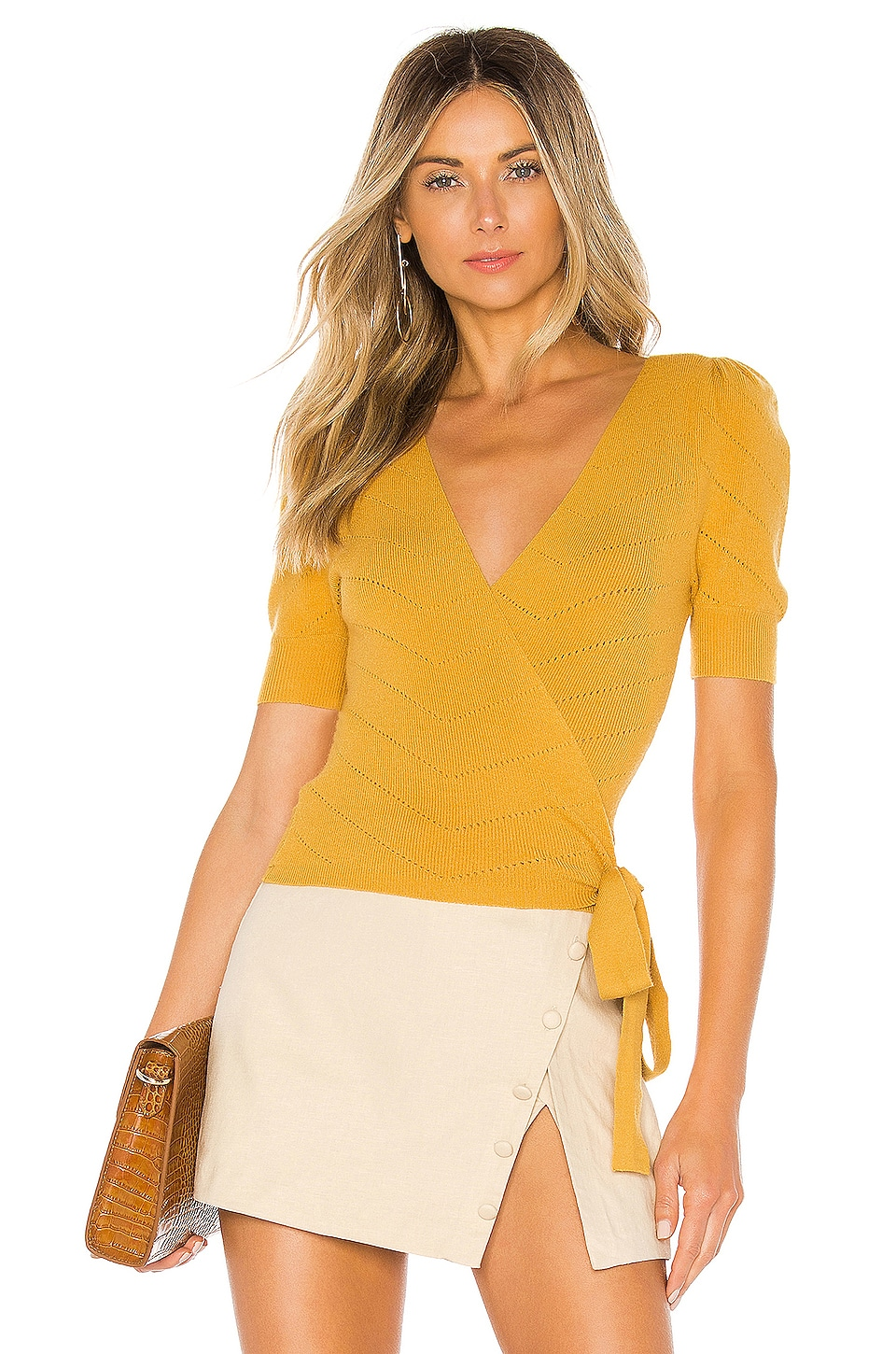 MAJORELLE Ginette Wrap Sweater in Mustard