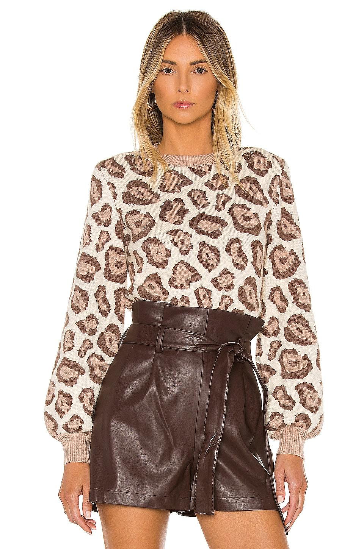 MAJORELLE Leandra Sweater in Beige Leopard