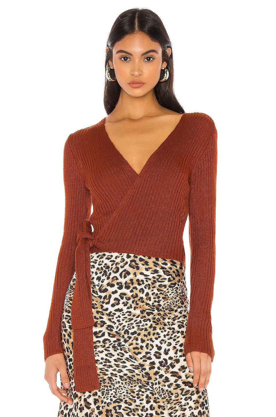 MAJORELLE Lyla Wrap Sweater in Brown