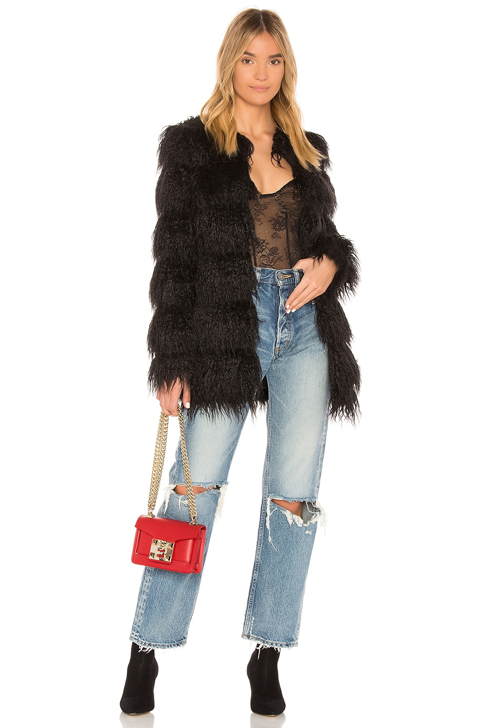 MAJORELLE Vale Faux Fur Coat in Black