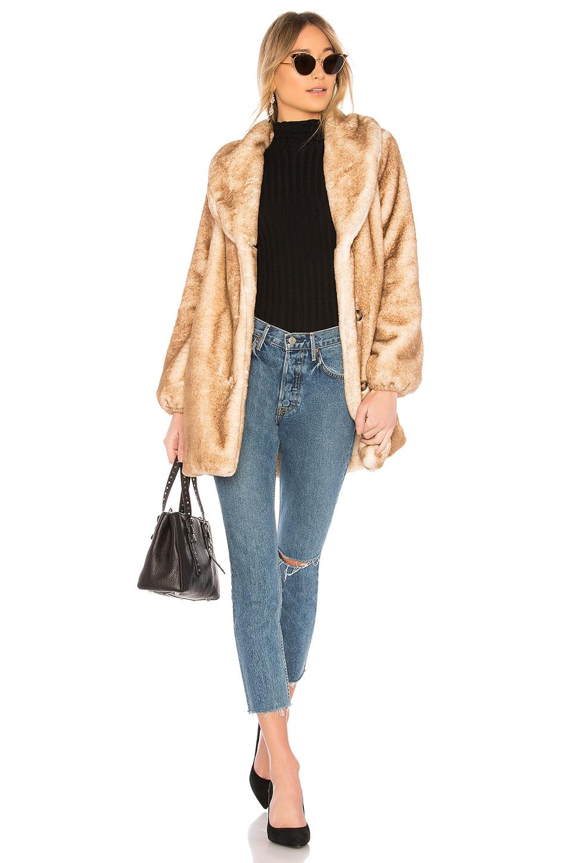 MAJORELLE Brinley Faux Fur Coat in Marshmallow
