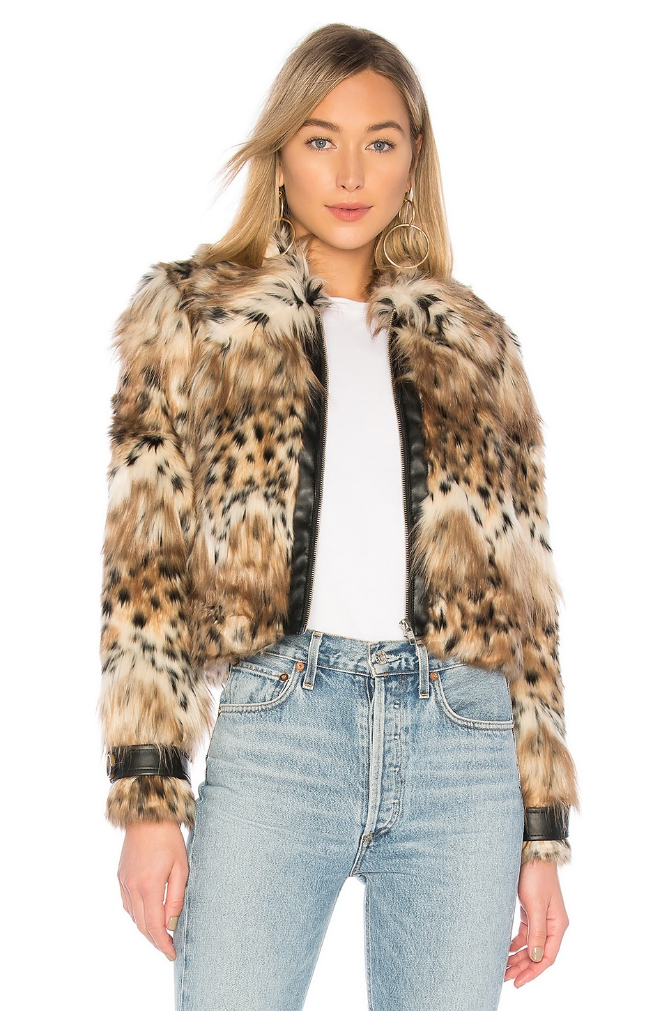 MAJORELLE Kaelyn Coat in Snow Leopard