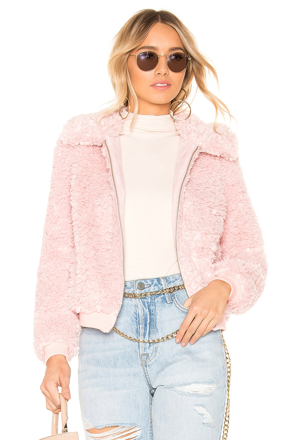 MAJORELLE Adele Coat in Pink