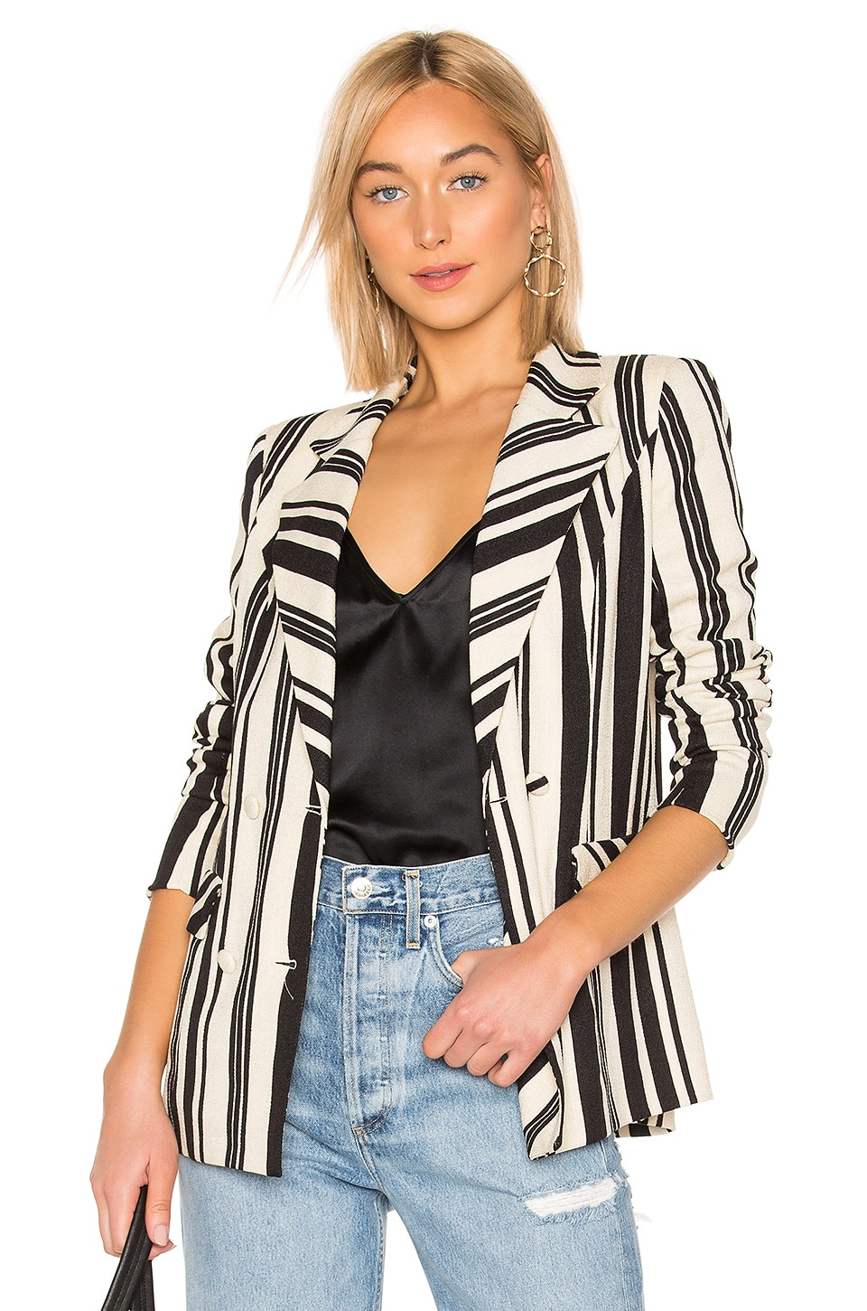 MAJORELLE Rhea Blazer in Black Stripe