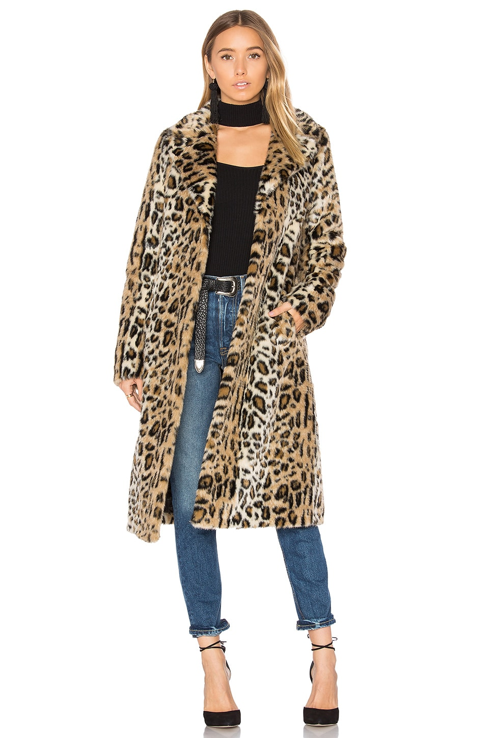 MAJORELLE Fifi Faux Fur Coat in Leopard