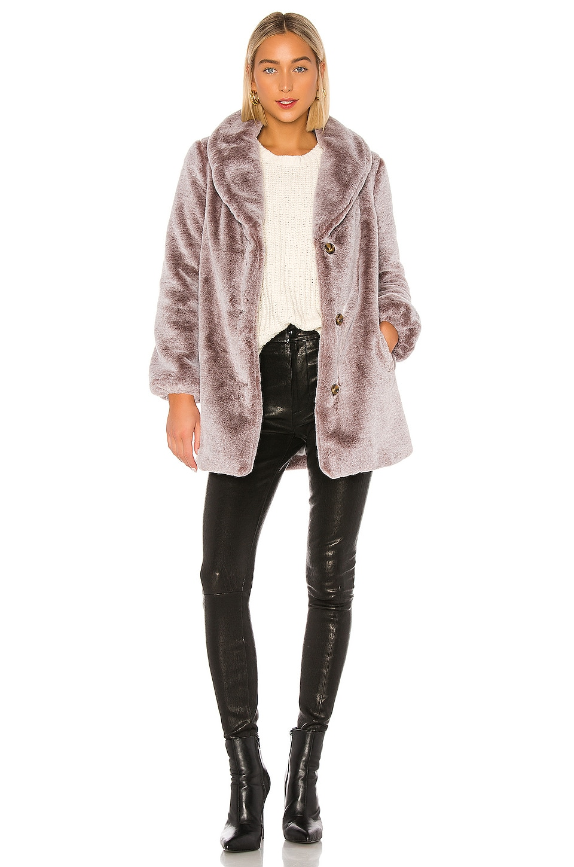 MAJORELLE Brinley Faux Fur Coat in Frosted Mocha
