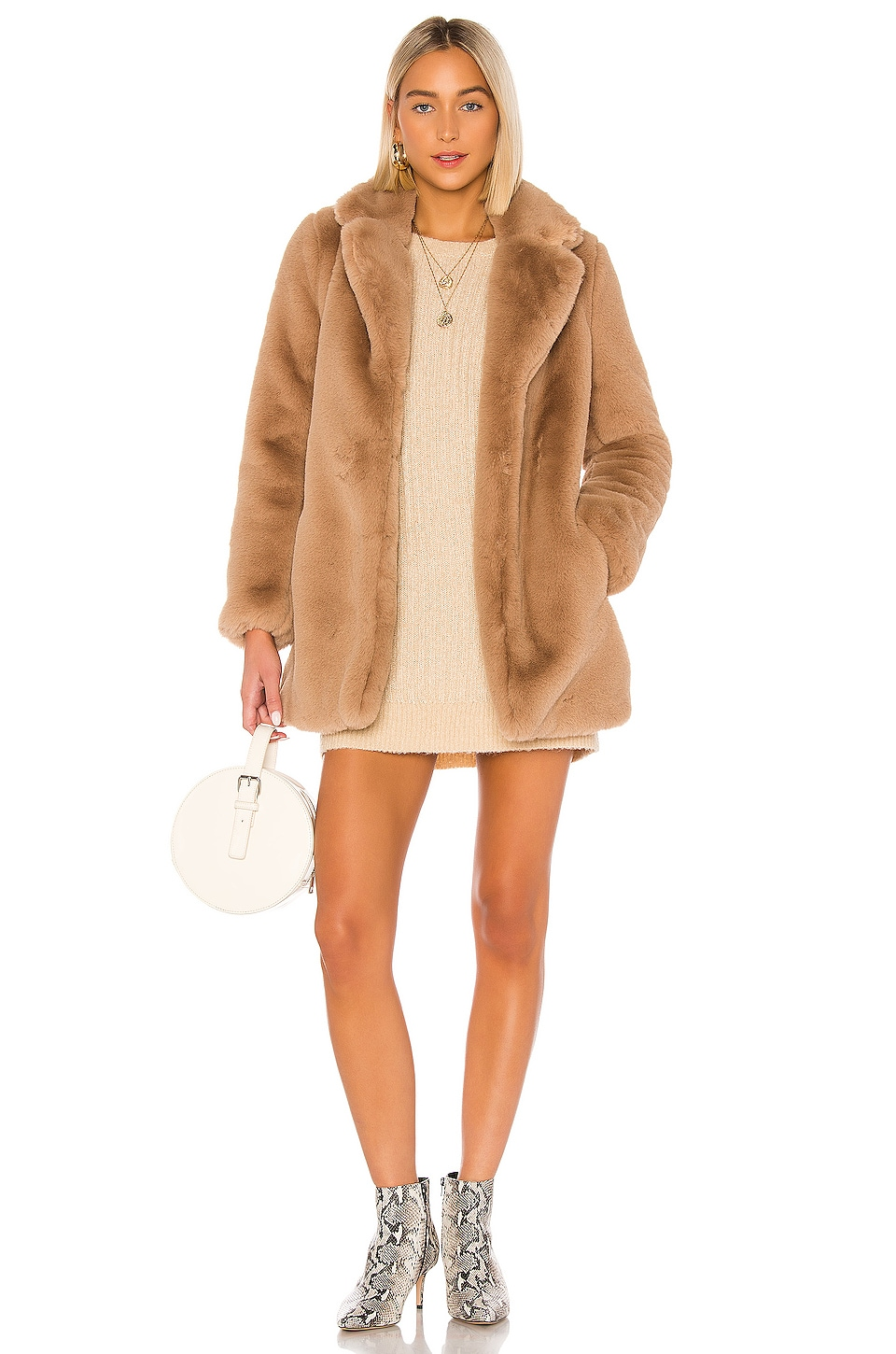 MAJORELLE Amora Coat in Mocha Brown