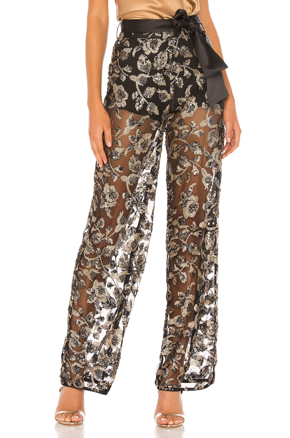 MAJORELLE Prescott Pant in Black & Gold