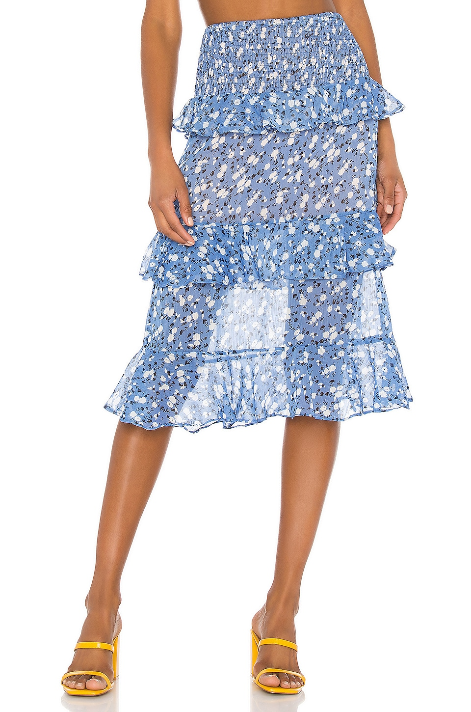 MAJORELLE Everly Midi Skirt in Blue Ditsy