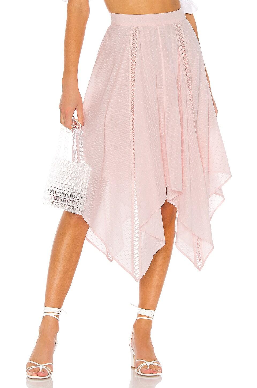 MAJORELLE Wesley Midi Skirt in Baby Pink
